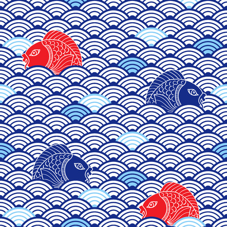 Oriental traditional pattern with catfish and waves. Blue, res and white colors. Colorful nautical background. Asian ceramic ornament. Vector art