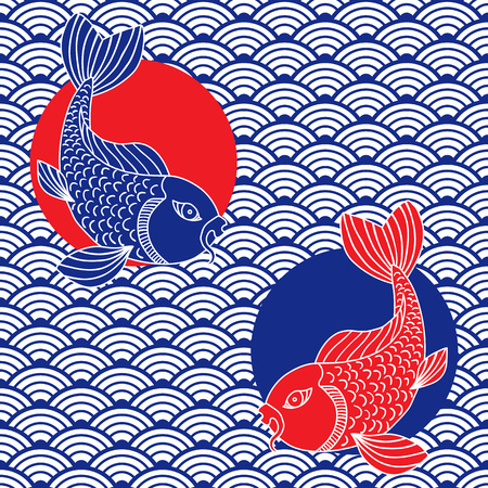 Waves and catfish symbols. Japanese ornament. Red, blue and white colors. Vector art