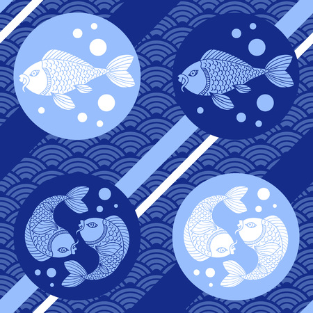 Modern japanese seamless pattern with waves, catfish and lines. Asian style. Vector illustration.