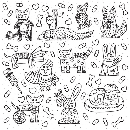 Set di animali per clinica veterinaria. Gatto, cane, uccello, coniglio con problemi diversi. Illustrazione di scarabocchio di vettore. Isolato su sfondo bianco.