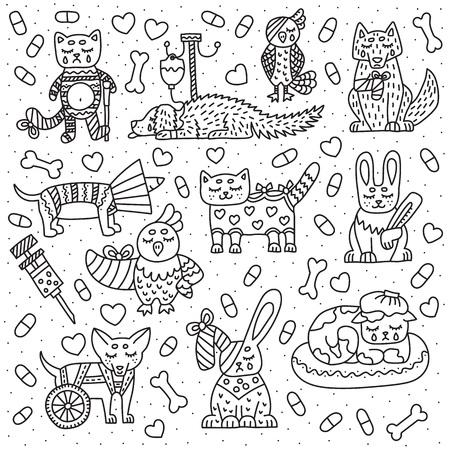 Set von Haustieren für Tierklinik. Katze, Hund, Vogel, Kaninchen mit verschiedenen Problemen. Vektor-Doodle-Illustration. Isoliert auf weißem Hintergrund.