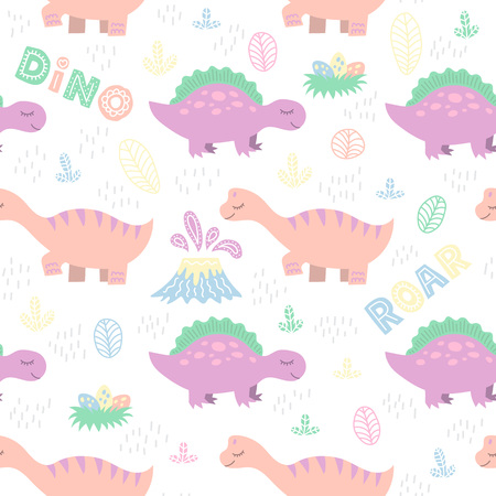 Cute seamless vector pattern with hand-drawn dino. Colorful background for textile, fabric