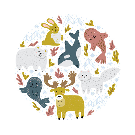 Arctic animals in round shape. Cute childish hand-drawn illustrations. Round print for t-shirts, bags, cards. Vector art.