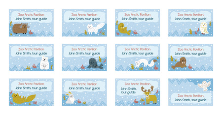 Collection of nametags template. Cute winter background. North pole animals. Hand-drawn childish illustrations. Vector template. Illustration