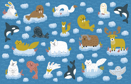 Collection of north pole animals floating on an ice floe. Cute childish characters. Vector illustration.