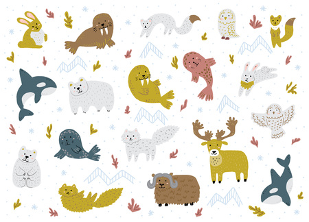 Set of arctic animals. Cute hand-drawn characters. Childish vector illustrations. Stock Photo