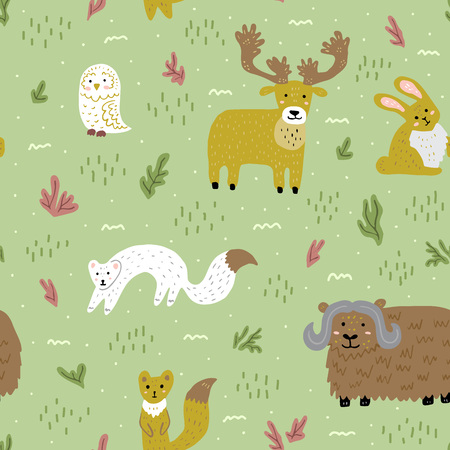 Arctic summer nature and animals. Cute childish characters. Vector seamless pattern. Template for fabric, wallpaper, wrapping paper.