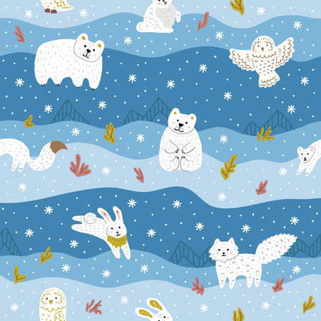 Arctic animals with white fur. Cute seamless pattern for kid's clothes, fabric. Blue and white colors. Vector illustration