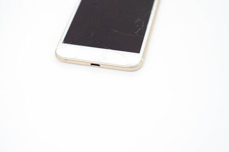 Phone, broken phone or broken screen Place isolated with a white background. Stock fotó