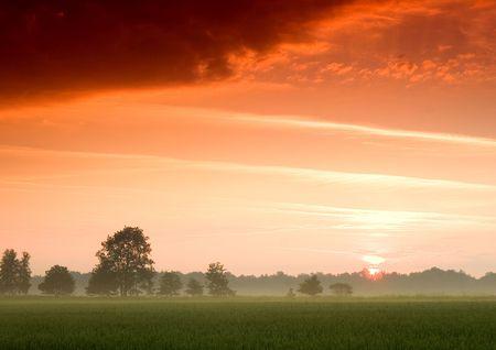 Beatiful and calm sunrise. Colourful landscape. Stock Photo - 6721620