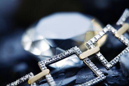 diamond necklace: Jawel and rocks. Stock Photo