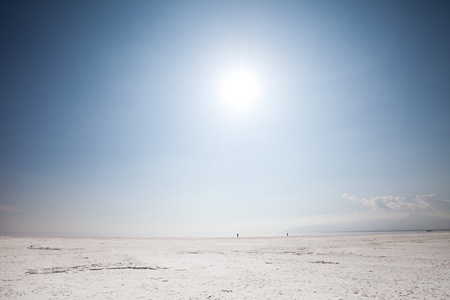 salt flat: Salt lake Stock Photo