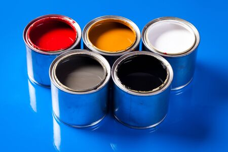 paint swatch: cans of paint Stock Photo