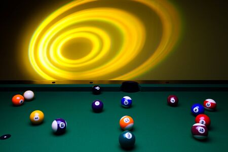 billiards tables: Billiard balls and lights