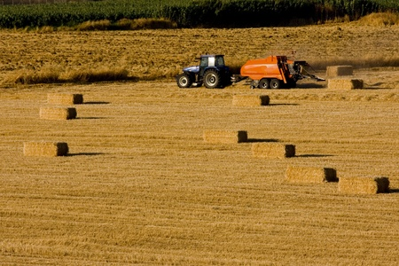 Farmers field full of hay bales with tractor Stock Photo - 8759961