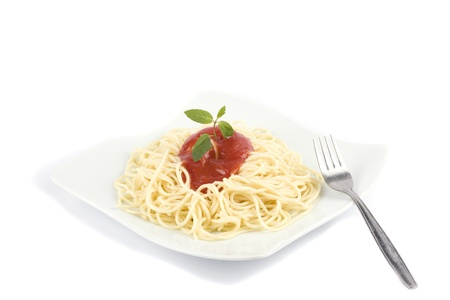Spaghetti on a white background with copy space photo