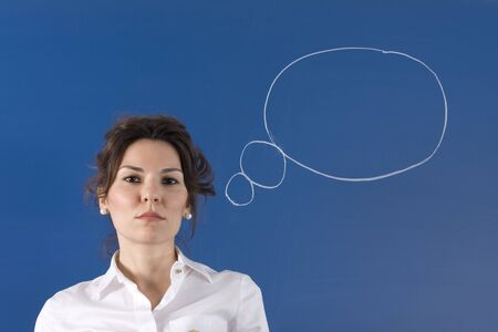 Image of young woman thinking on green board Stock Photo - 11310685