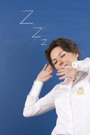 Business woman sleep in office photo