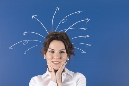 woman with lots of questions coming out of his head photo