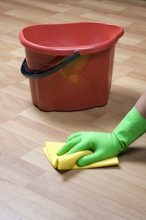 cleaning floor: cleaning equipment and wooden parquet
