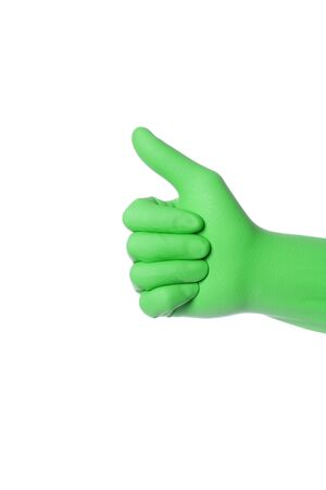 green thumb: Hand wearing green rubber glove shows thumb up sign, isolated over white