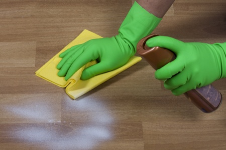 cleaning floor: cleaning wooden parquet