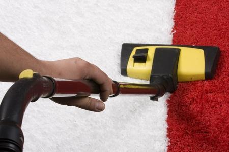 vac: Vacuum nozzle on the carpet Stock Photo