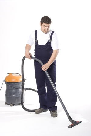 caretaker: cleaning floor with machine Stock Photo