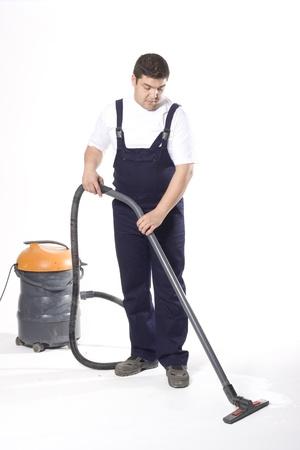 caretaker: cleaning floor with machine Stock Photo