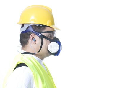 technician wearing safety uniform on white background Stock Photo - 12751684