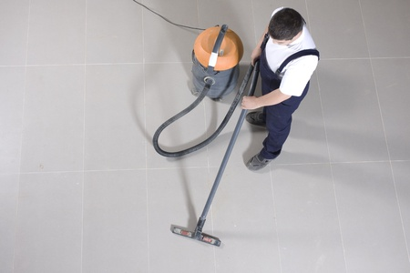cleaning floor with machine Stock Photo