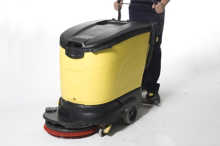 office machine: cleaning floor with machine Stock Photo