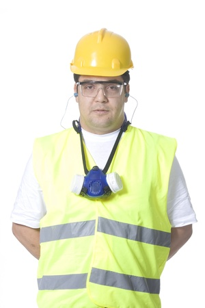 technician wearing safety uniform on white background photo