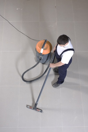 clean commercial: cleaning floor with machine Stock Photo