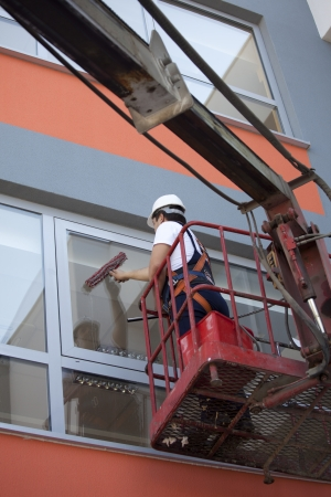 height: cleaning windows Stock Photo