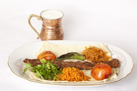 Turkish traditional kebab specials ready to serve with ayran photo