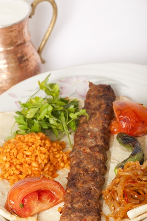 turkish bread:  Turkish traditional kebab specials ready to serve with ayran