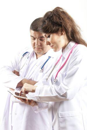 Medical doctors group  Isolated on white background  photo