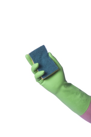 Hand with green glove holding cleaning product; isolated on white  photo