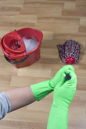 cleaner is mopping floor Stock Photo - 13405569