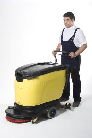 machine man: cleaning machine  Stock Photo