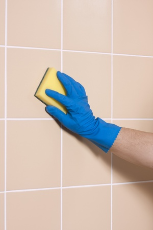 cleaning with gloves photo