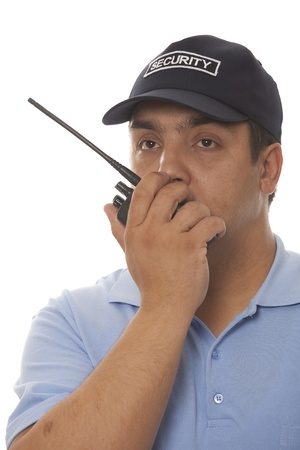Security guard hand holding cb walkie-talkie radio  Stock Photo - 13367511