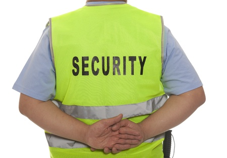 theft prevention: A detail of a security staff member  Stock Photo