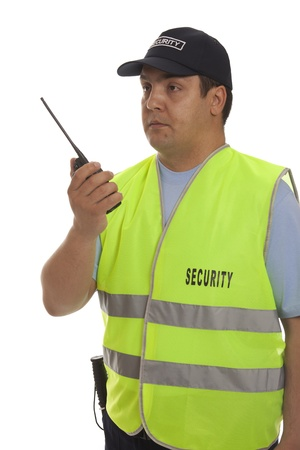 hand guards: Security guard hand holding cb walkie-talkie radio