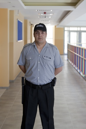 constable:  detail of a security staff member Stock Photo