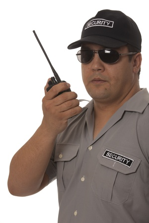 guardia de seguridad: Guardia de seguridad mano que sostiene CB walkie-talkie de radio Foto de archivo