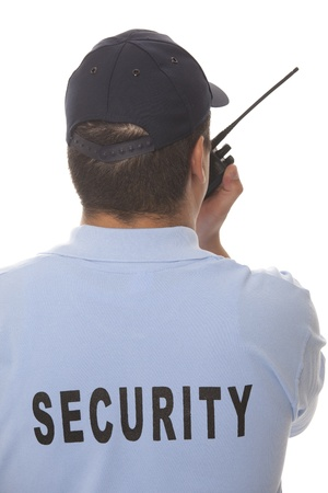 police radio: detail of a security guard