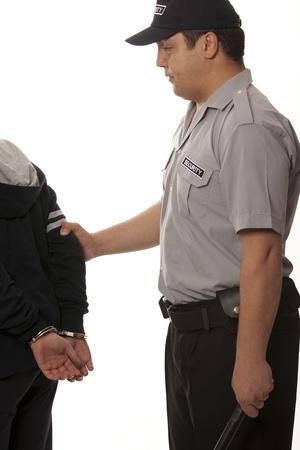detain:  Police law steel handcuffs arrest crime human hand