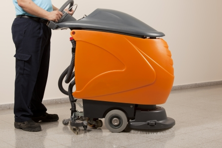 cleaning floor with machine Stock Photo - 13832806